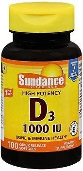 Sundance High Potency Vitamin D3 1000 IU Supplement - 100ct