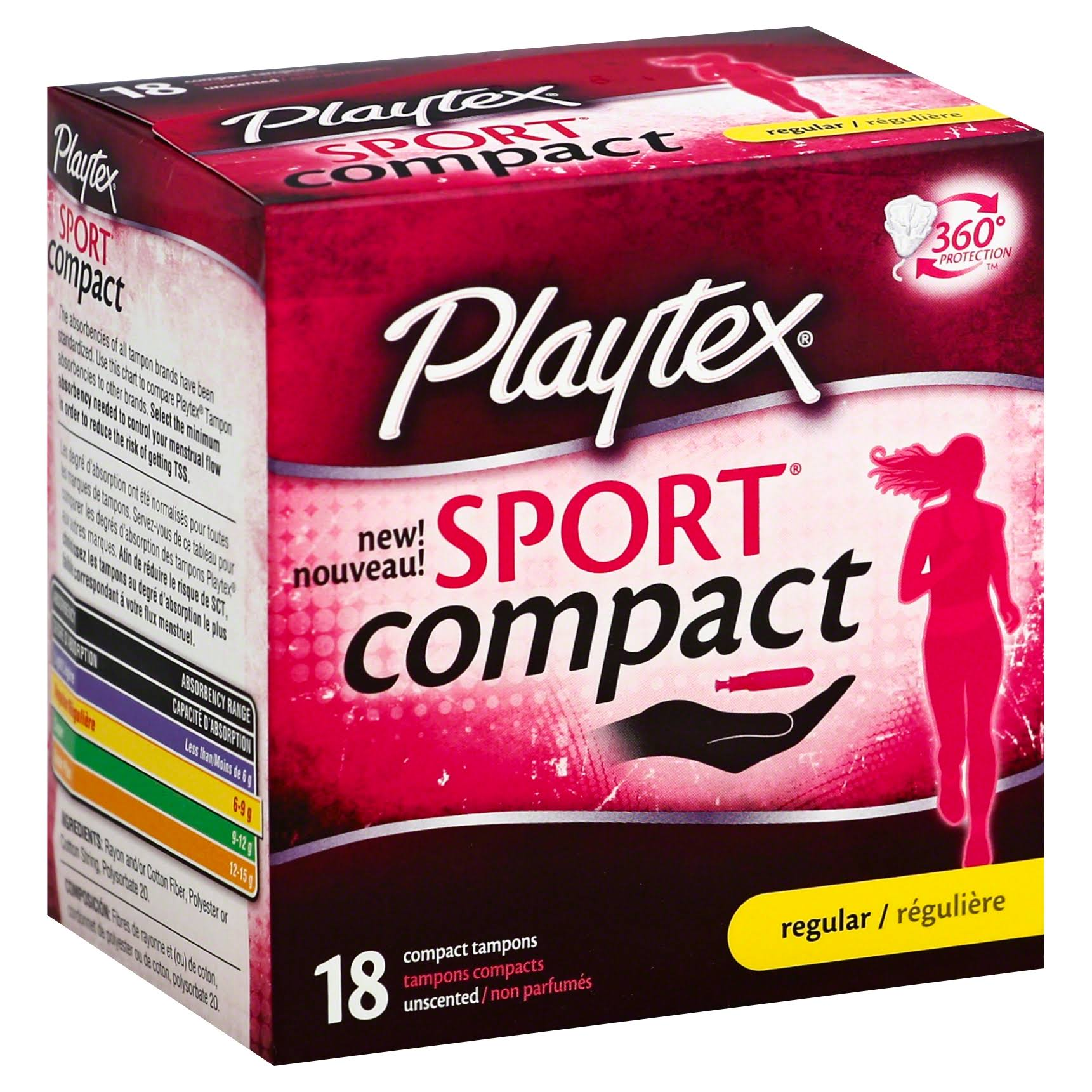 Playtex Sport Compact Tampons - Regular, Unscented, 18ct
