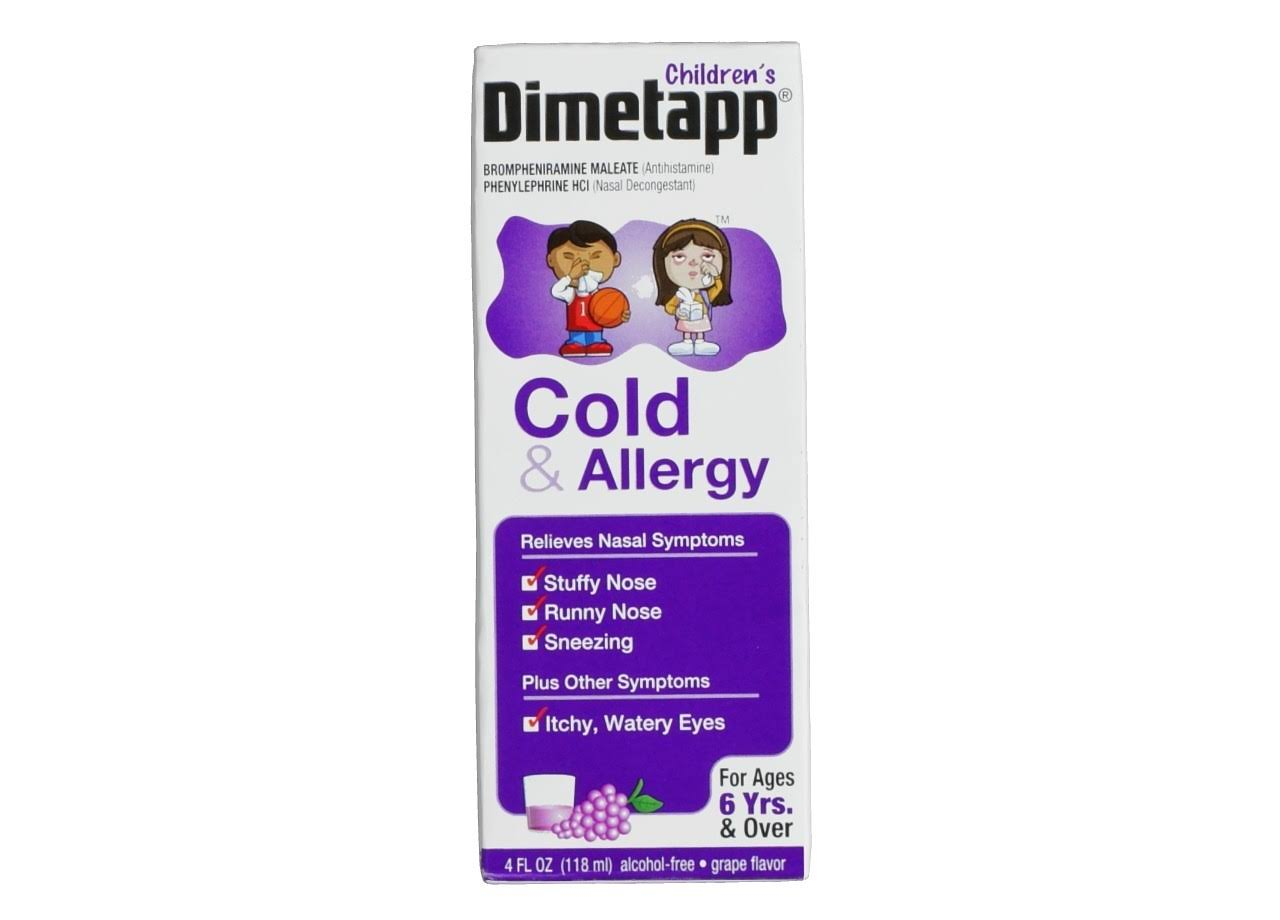 Dimetapp Children's Grape Flavor Cold & Allergy Liquid for Ages 6 Yrs. & Over - 4oz