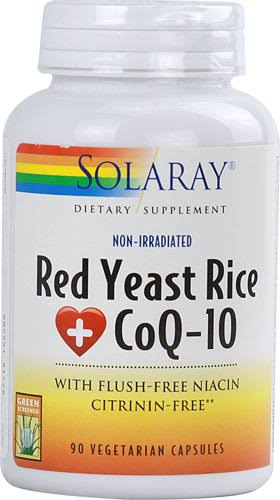 Solaray Red Yeast Rice Plus COQ-10 Vegetarian Capsules - x90
