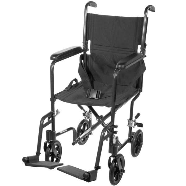 Drive Medical Aluminum Transport Chair - Black, 19""
