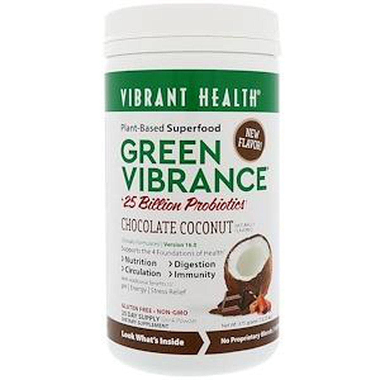 Vibrant Health Green Vibrance, Chocolate Coconut, Drink Powder - 13.23 oz