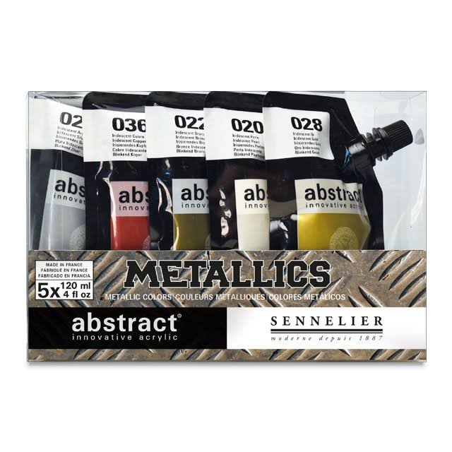 Sennelier Abstract Acrylic Paint - Metallics, 5 Pouches, 120ml