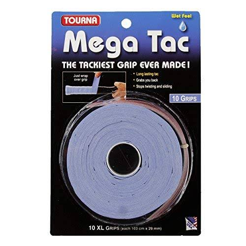 Tourna Mega Tac Tennis Racket Grip - Blue, 10pk