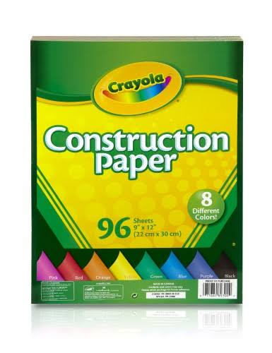 Crayola 96 Count Construction Paper, 8 Colors, blackblue/green