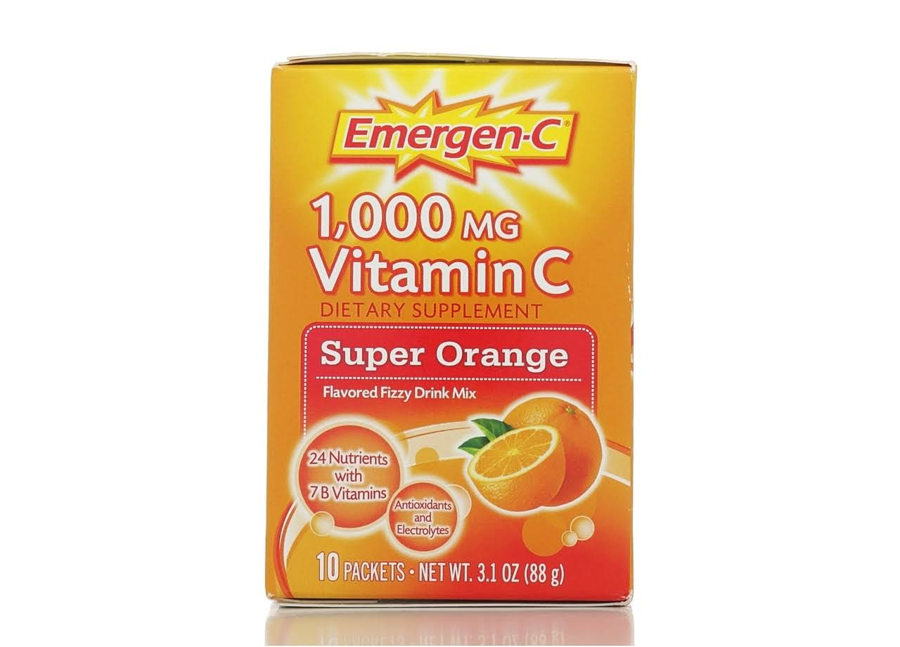 Emergen C Vitamin C Fizzy Drink Mix Dietary Supplement - 10ct, Super Orange