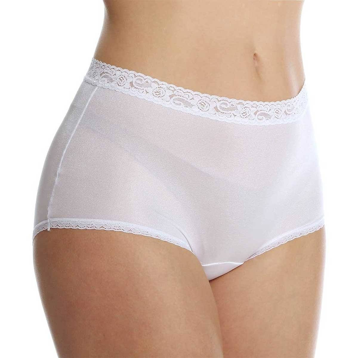 Cuddl Duds LR102 Lorraine Nylon Full Brief with Lace Trim Panty, Women's, Size: 8, White