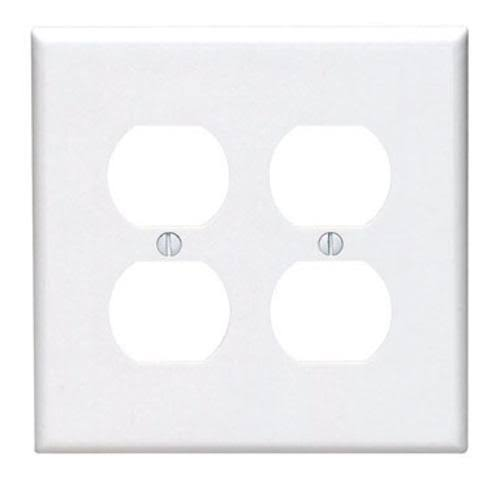 Leviton Midway Duplex Outlet Nylon Wall Plate - White, 2-Gang