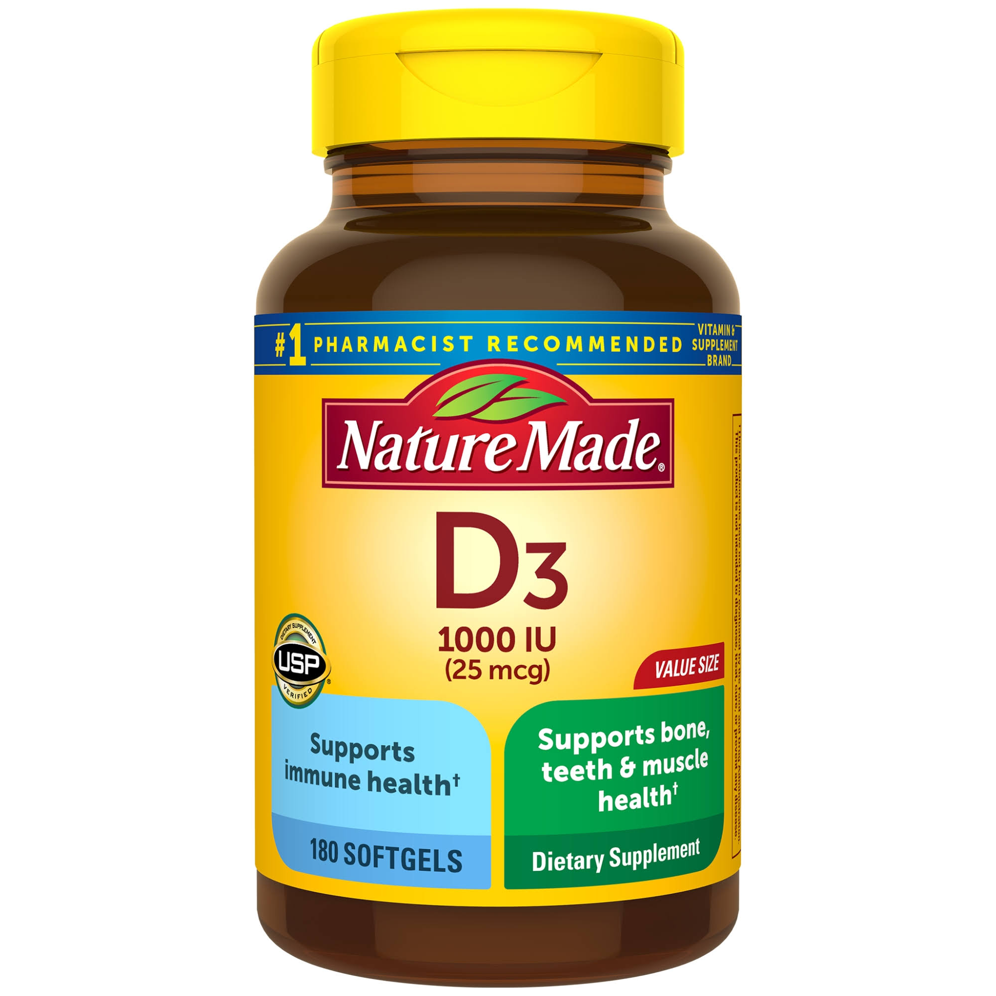 Nature Made Vitamin D3 1000 IU Dietary Supplement - 180ct