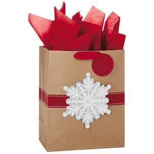 Snowflake on Kraft Large Christmas Gift Bag with Tissue Paper, 13""
