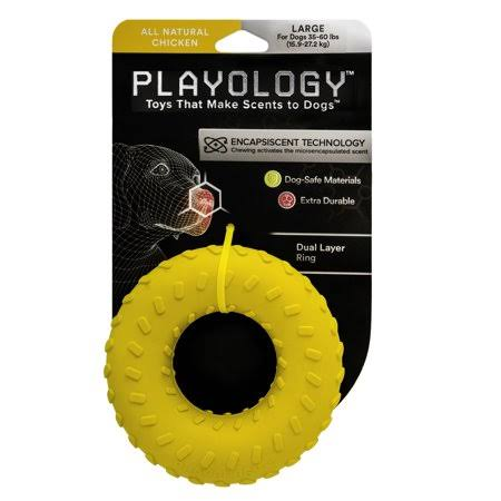 Playology Dual Layer Ring Dog Toy Chicken Scent, Large