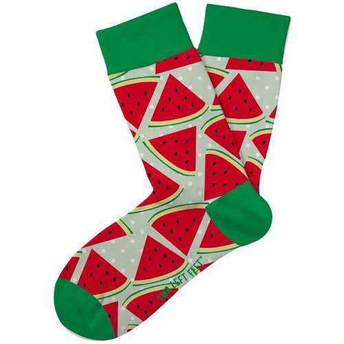 Two Left Feet Kids Novelty Crew Socks - Watermelon Medium Large