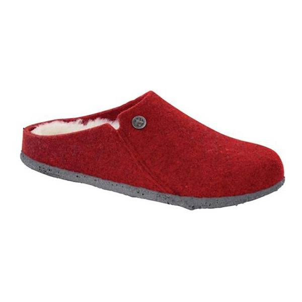 Women's Birkenstock Zermatt Shearling Narrow Slippers - Red/ Natural / 39