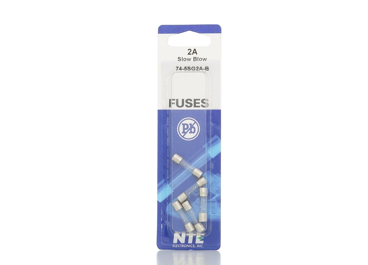 NTE 74-5SG2A-B - 5x20mm Slow Blow Glass Fuses 2A - 5 Pack