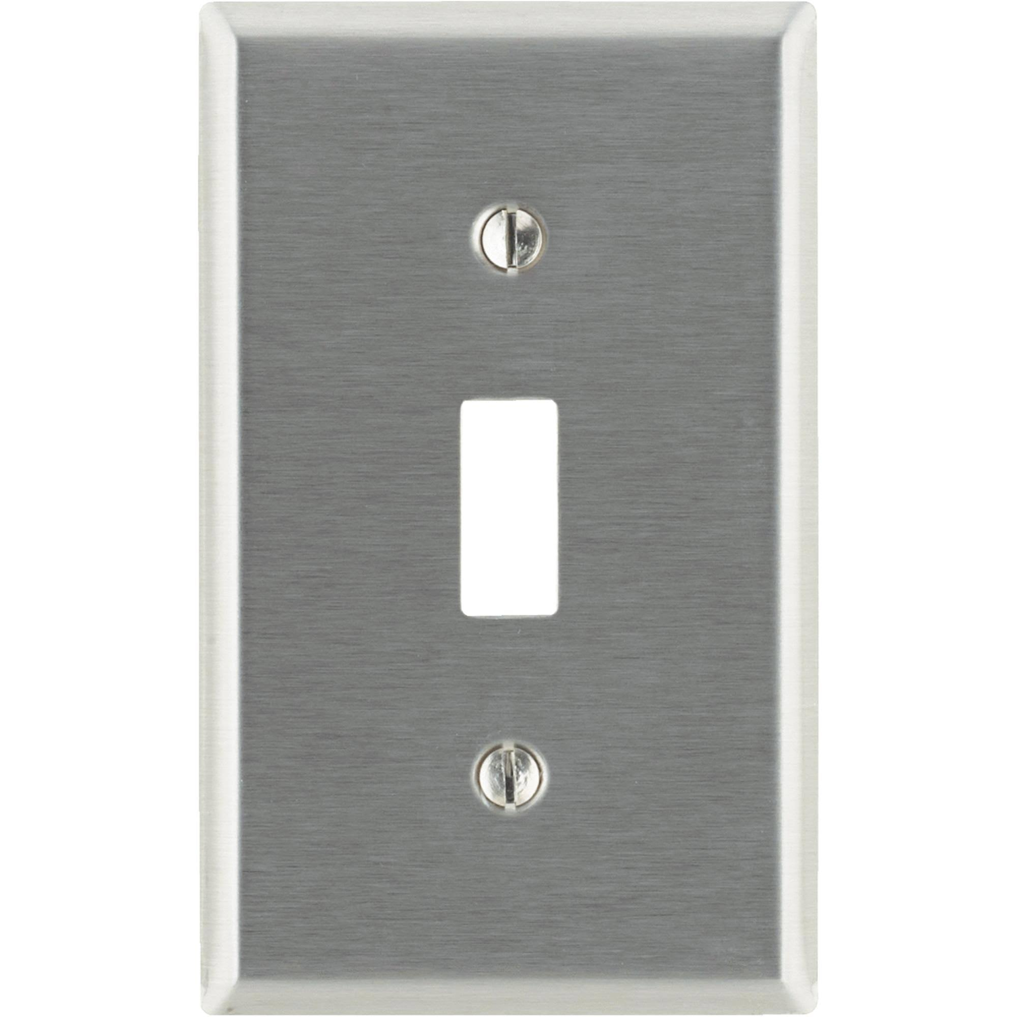 Leviton Stainless Steel Toggle Wall Plate - 1 Gang, Silver