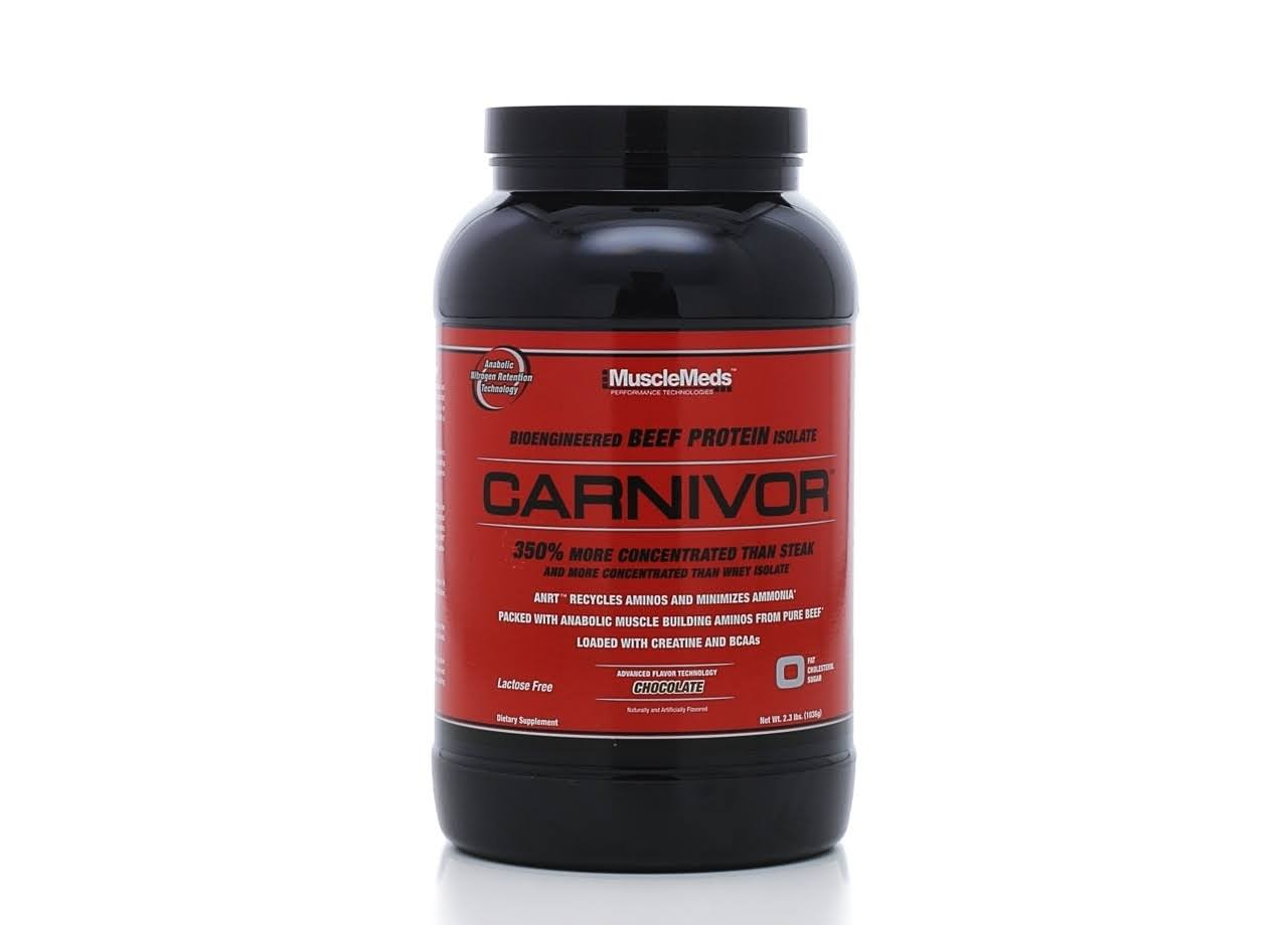 MuscleMeds Carnivor Beef Protein Powder, Chocolate - 2.3 lb canister