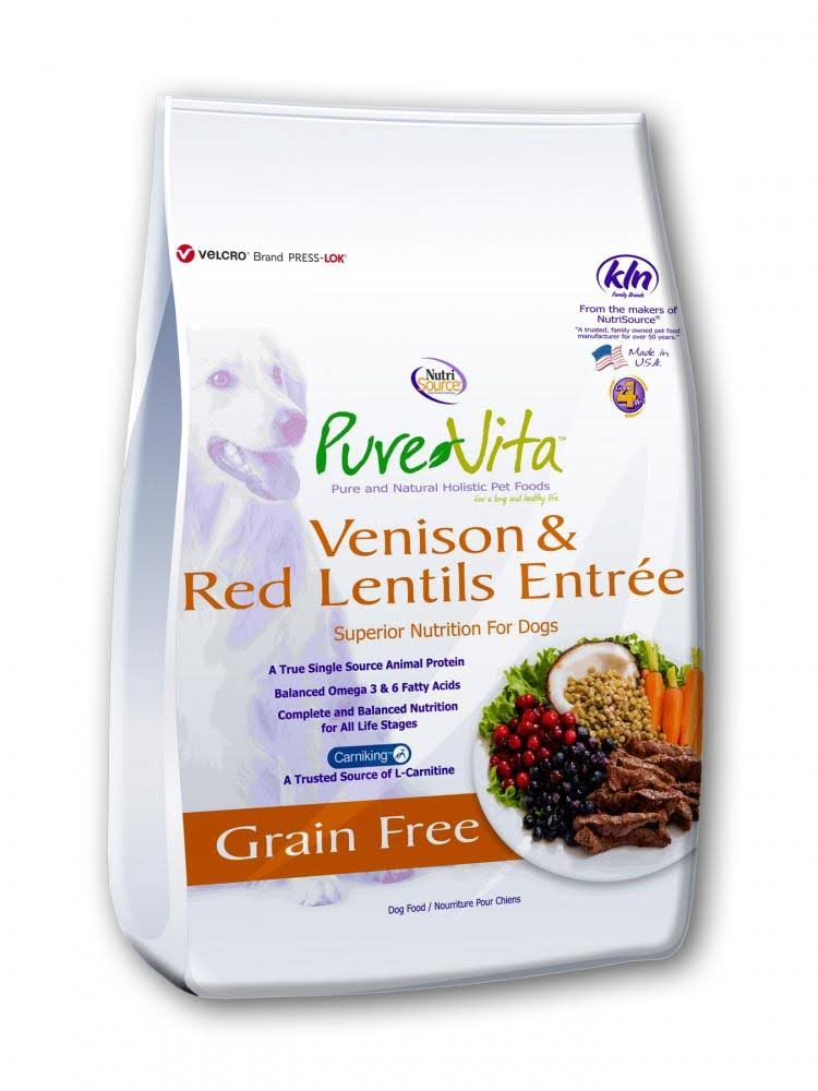 PureVita Grain Free Venison & Red Lentils Dog Food 25 lb