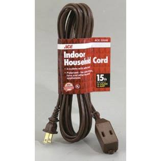 Ace Indoor 15 ft. L Brown Extension Cord 16/2 SPT-2 32680