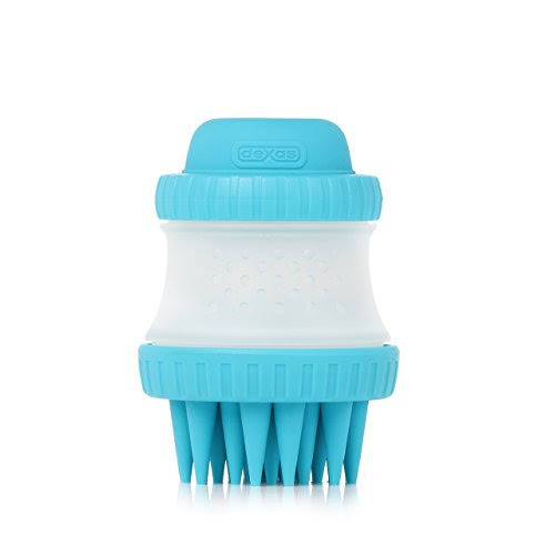 Dexas ScrubBuster Silicone Dog Washing Brush in Blue