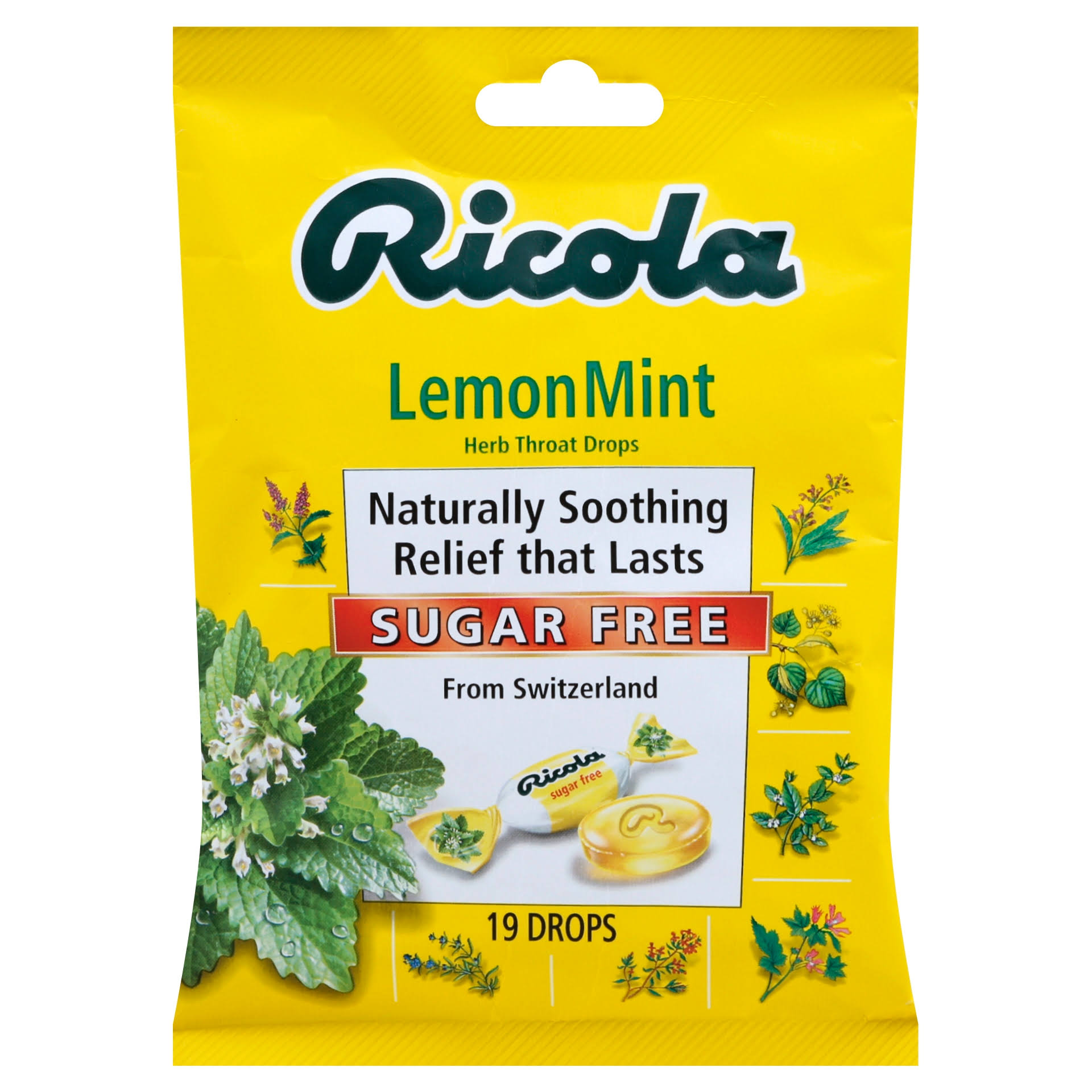 Ricola Herb Throat Drops - LemonMint, 19 Drops