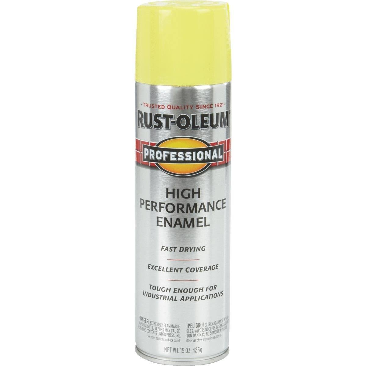 Rust-Oleum 7543838 Professional High Performance Enamel Spray Paint - Safety Yellow, 15oz
