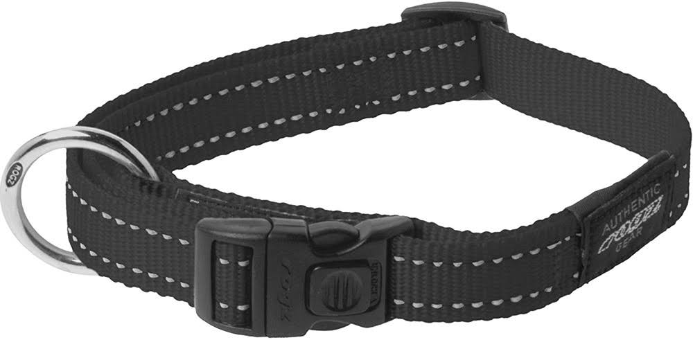Rogz Utility Reflective Nitelife Dog Collar - Black, Small