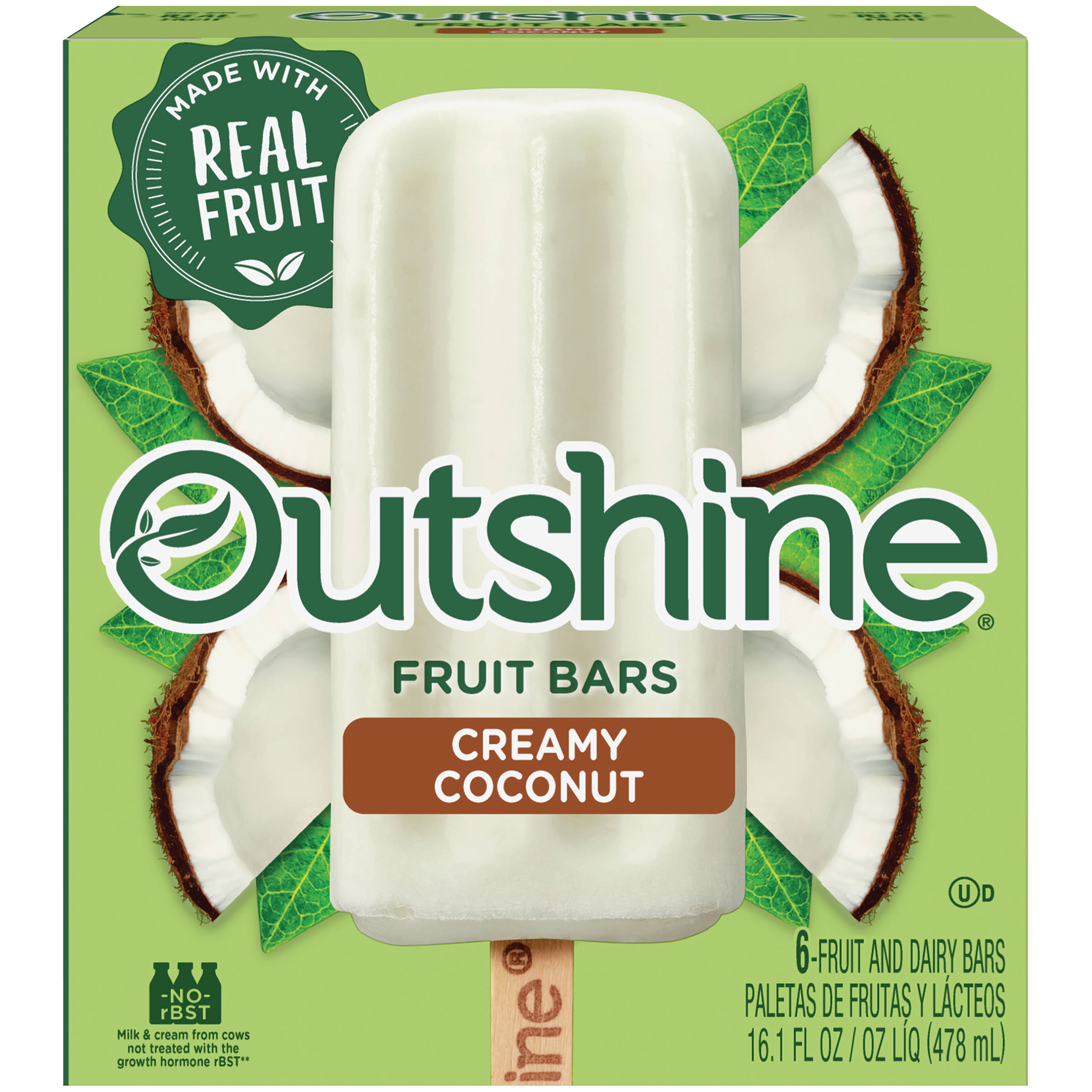 Nestlé Outshine Fruit and Dairy Bars - 6 Fruit and Dairy Bars, Creamy Coconut, 478ml
