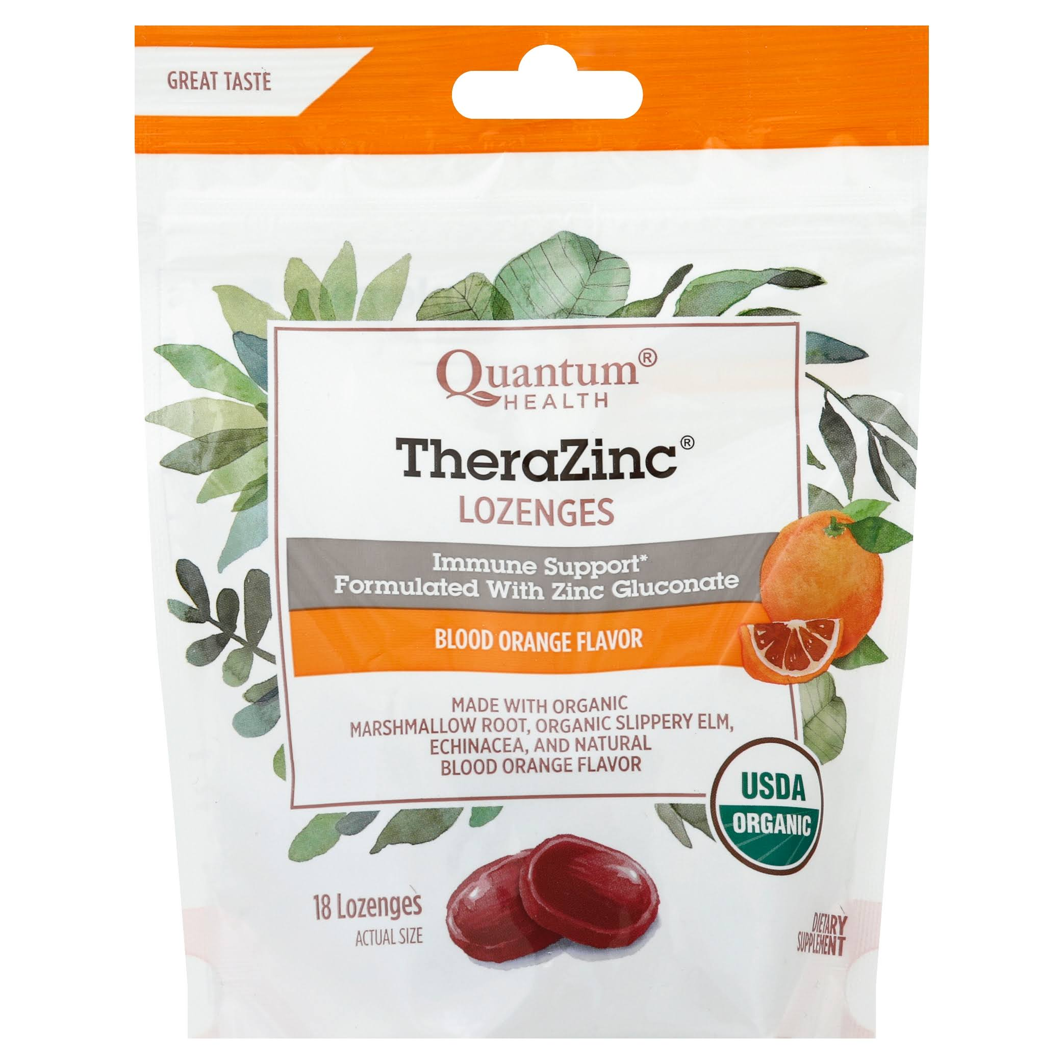 Quantum Organic TheraZinc Lozenges Supplement - Blood Orange, 18 Count
