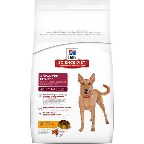 Hill's Science Diet Adult 1-6 Advanced Fitness Premium Natural Dog Food - Chicken Barley Recipe, 5lbs
