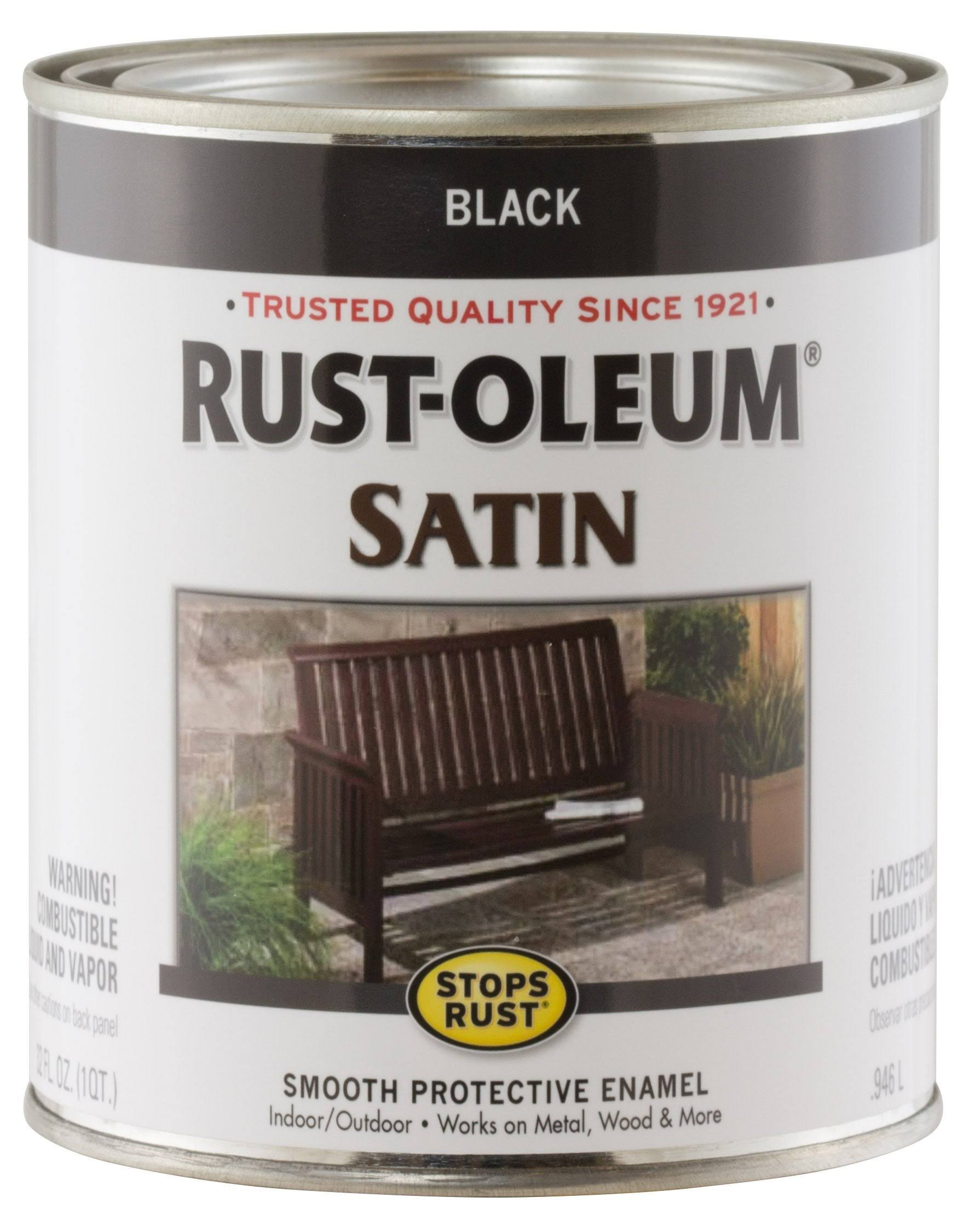 Rust-Oleum Satin Paint - Black, 1 Quart