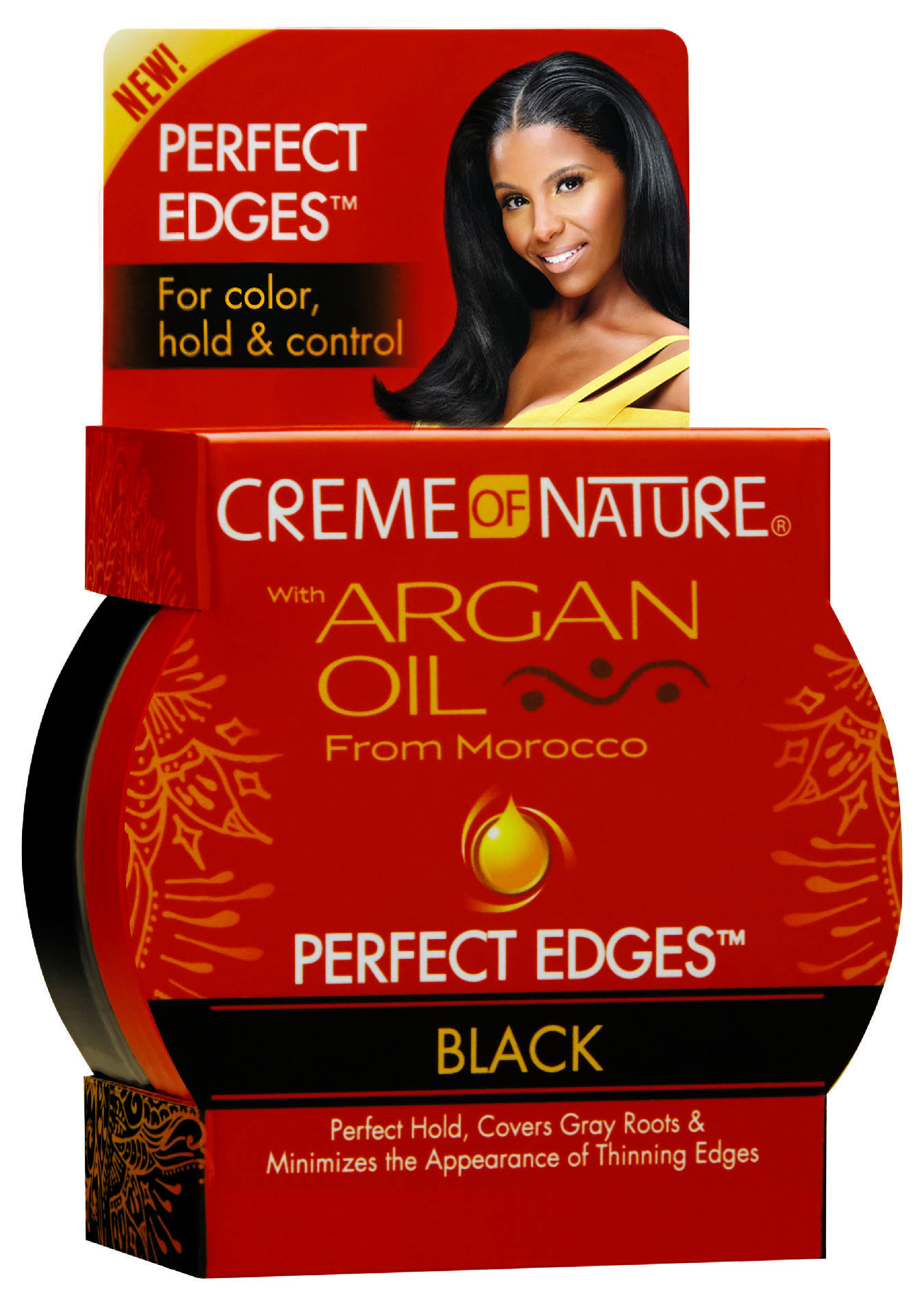 Creme of Nature Perfect Edges Control Hair Gel - with Argan Oil, Black, 2.25oz