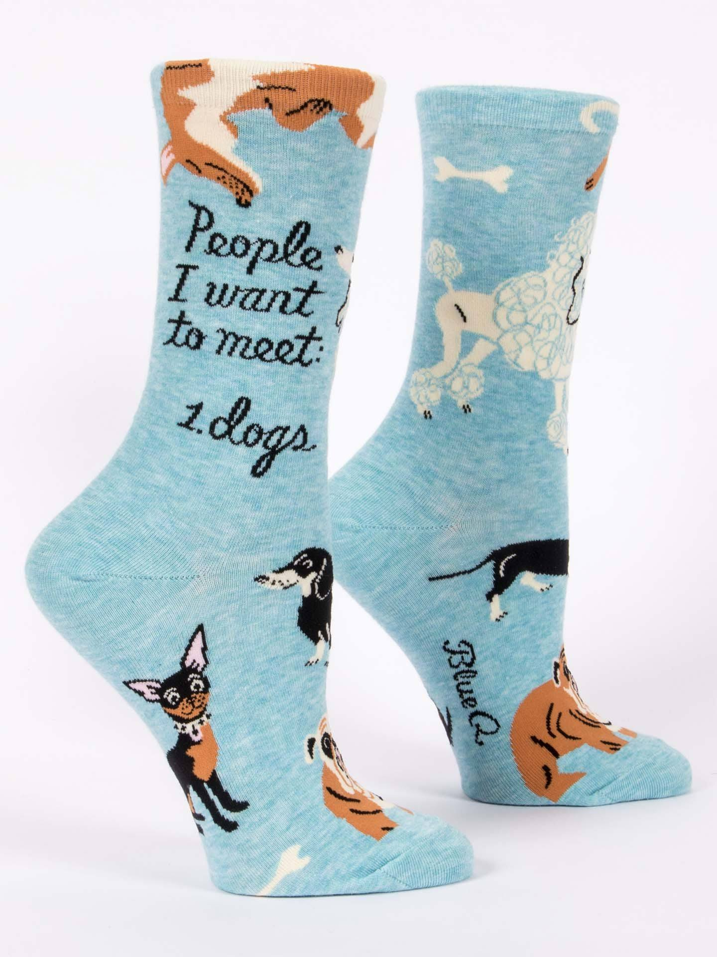 Blue Q - People I Want to Meet: Dogs Crew Socks | Women's