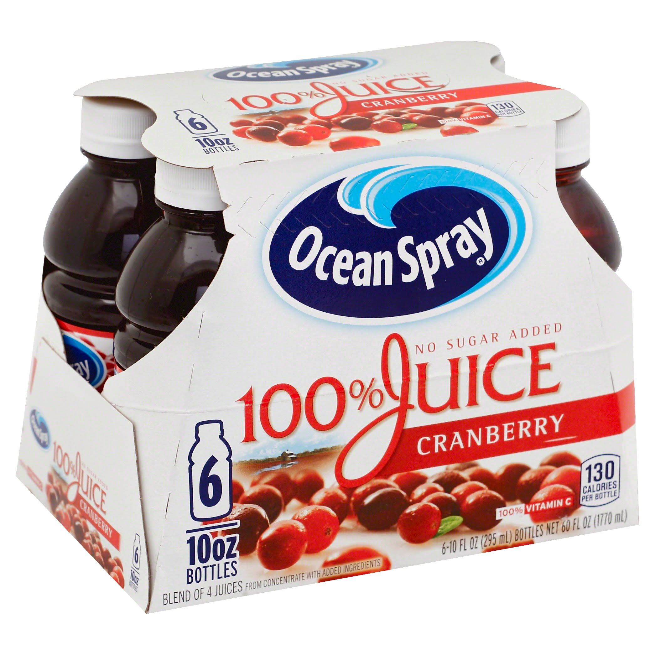 Ocean Spray 100% Juice Drink - Cranberry, 10oz, x6