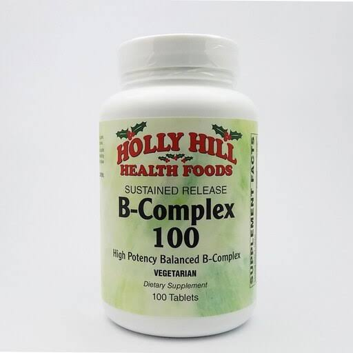 Holly Hill Health Foods, B Complex 100 Sustained Release, Vegetarian Formula, 100 Tablets