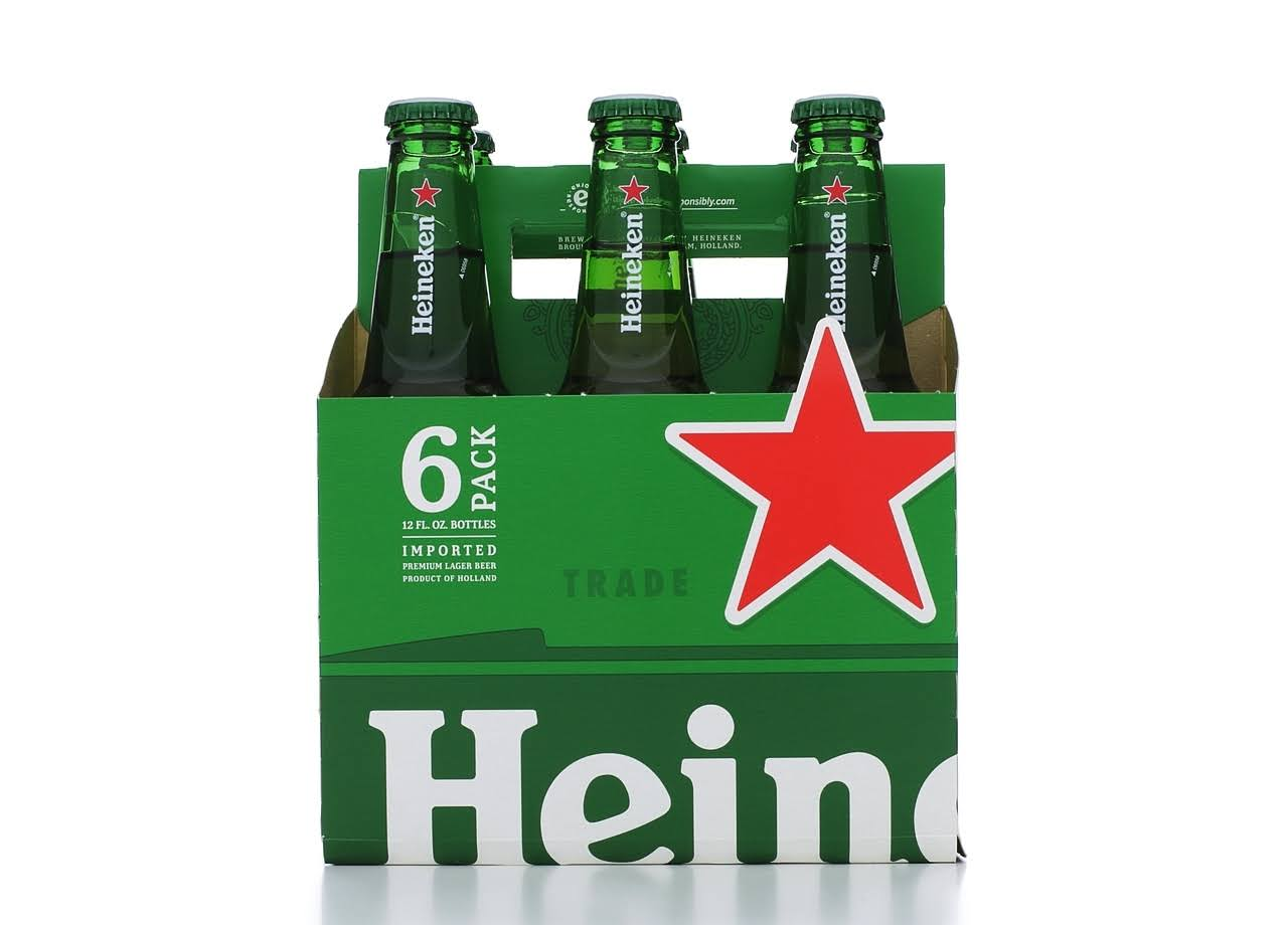 Heineken Lager Beer - 12 oz, 6 pack