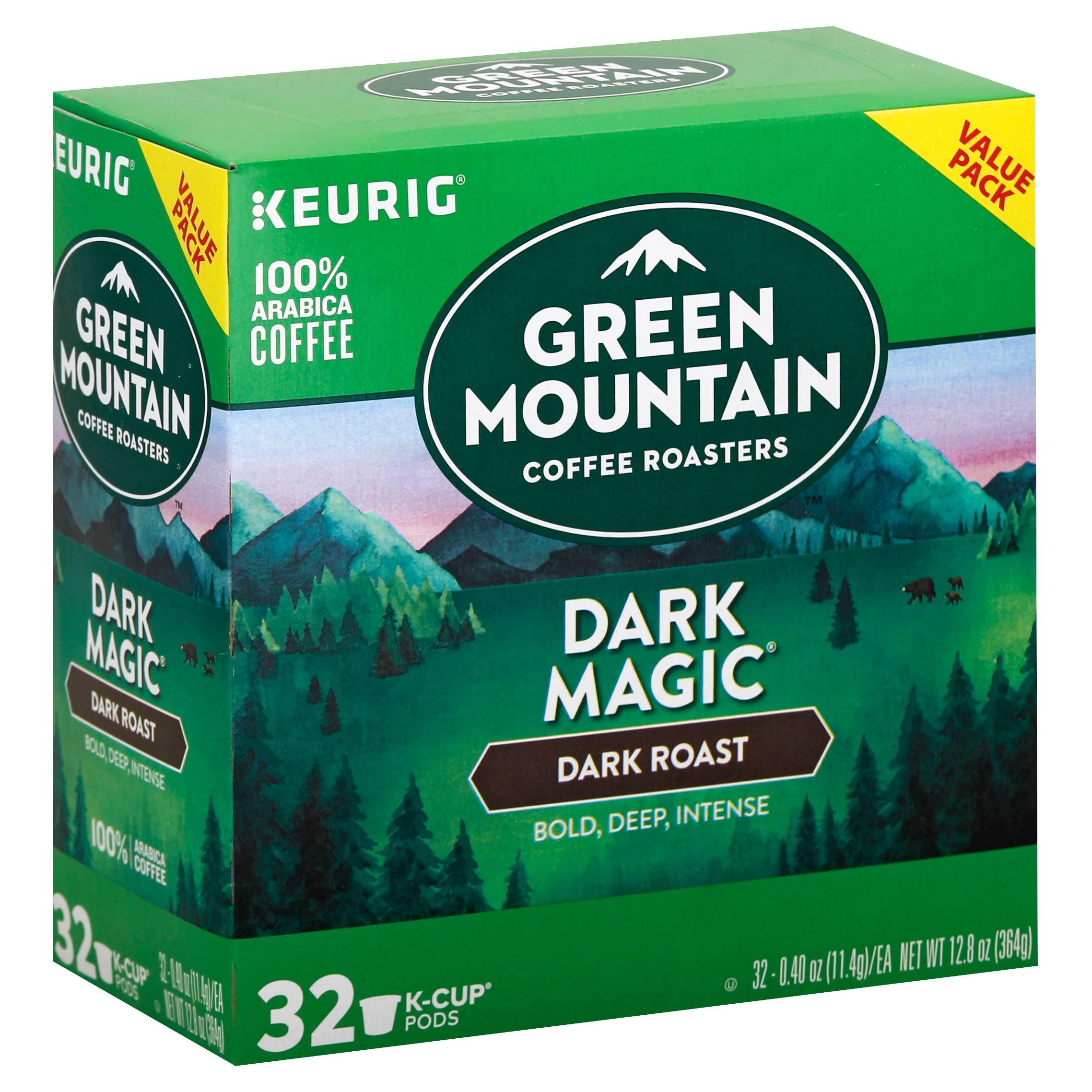Green Mountain Keurig Coffee, 100% Arabica, Dark Roast, Dark Magic, K-Cup Pods, Value Pack - 32 pack, 0.40 oz pods