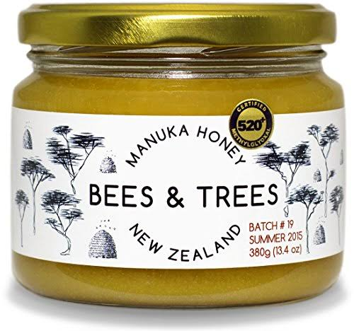 Bees & Trees 500+ mg 100% Raw New Zealand Manuka Honey, 380gm