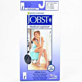 Jobst Ultrasheer Thigh High Silicone Dot Band Stockings - 15-20mmhg, X-Large, Natural