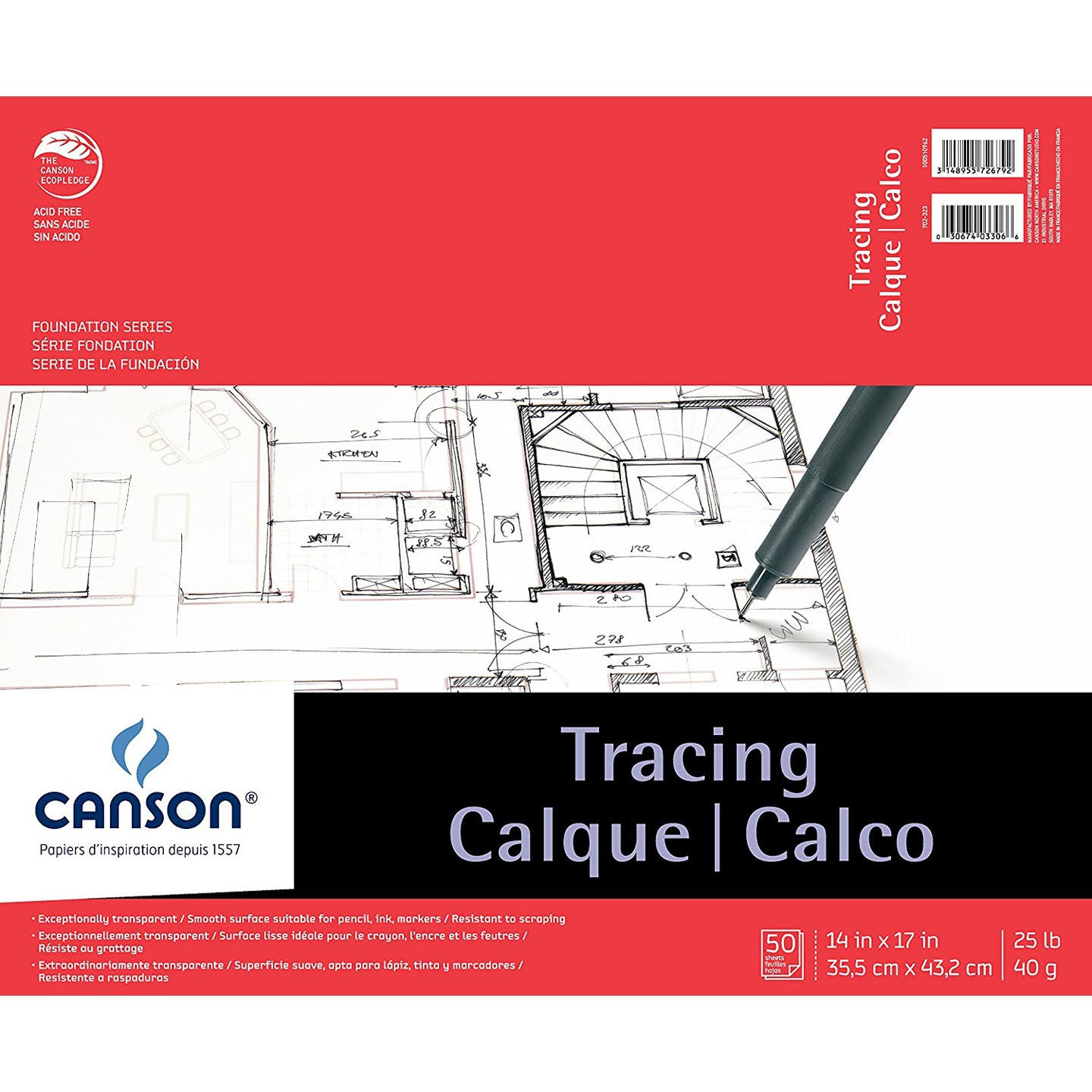 "Canson C100510962 Tracing Pad - 14"" x 17"", 50 Sheets"