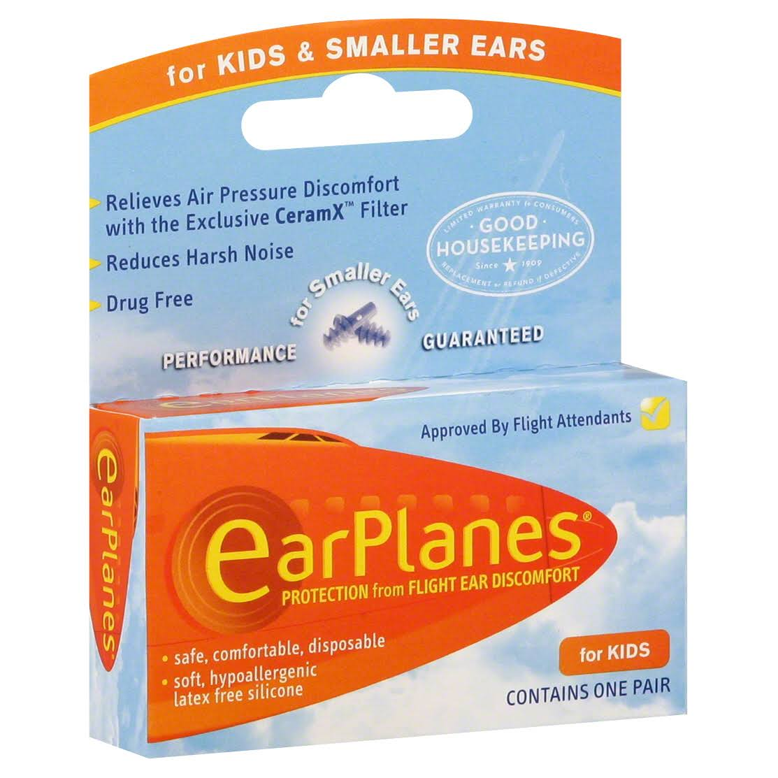 Earplanes Protection From Flight Ear Discomfort - Kids, One Pair