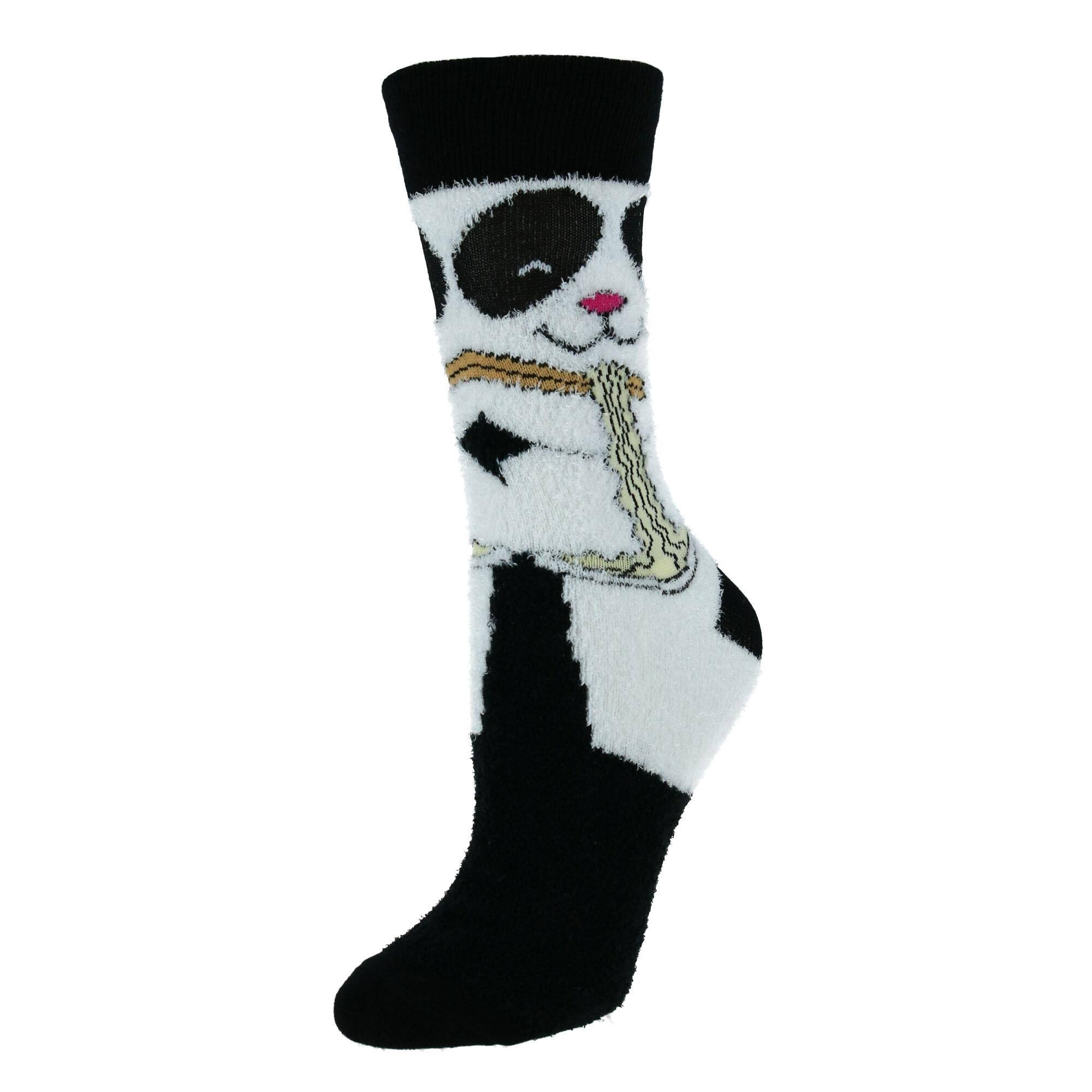 Two Left Feet Women's Super Soft Fuzzy Crew Socks - Black Small