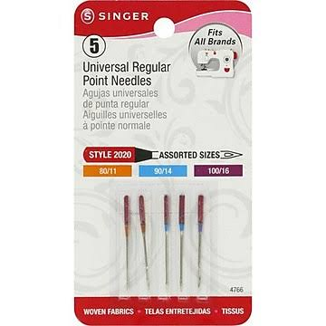 Singer 4766 Universal Regular Point Sewing Machine Needles - 5ct