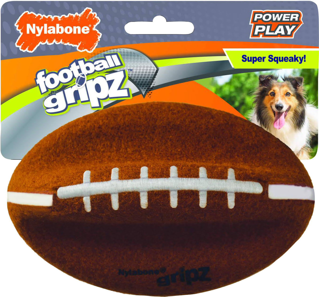 Nylabone NPLY006P Power Play Football Gripz, Brown/White, Medium