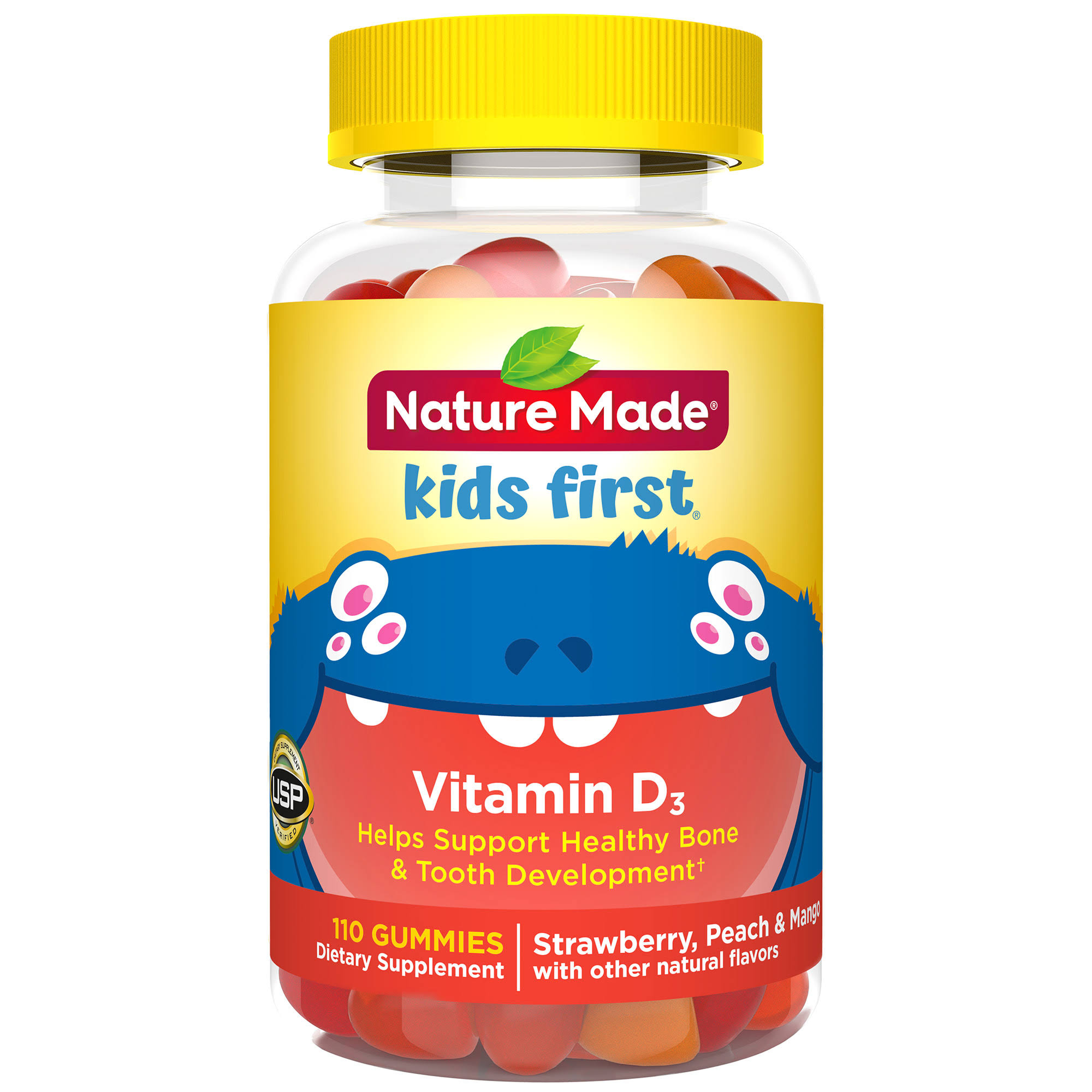 Nature Made Kids First Vitamin D3 Gummies Supplement - Peach Mango and Strawberry, 110ct
