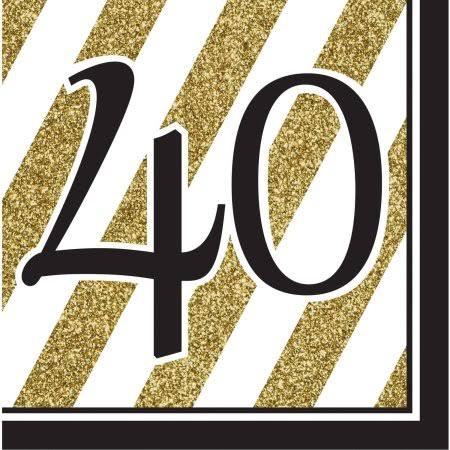 Black and Gold 40th Birthday Lunch Napkins