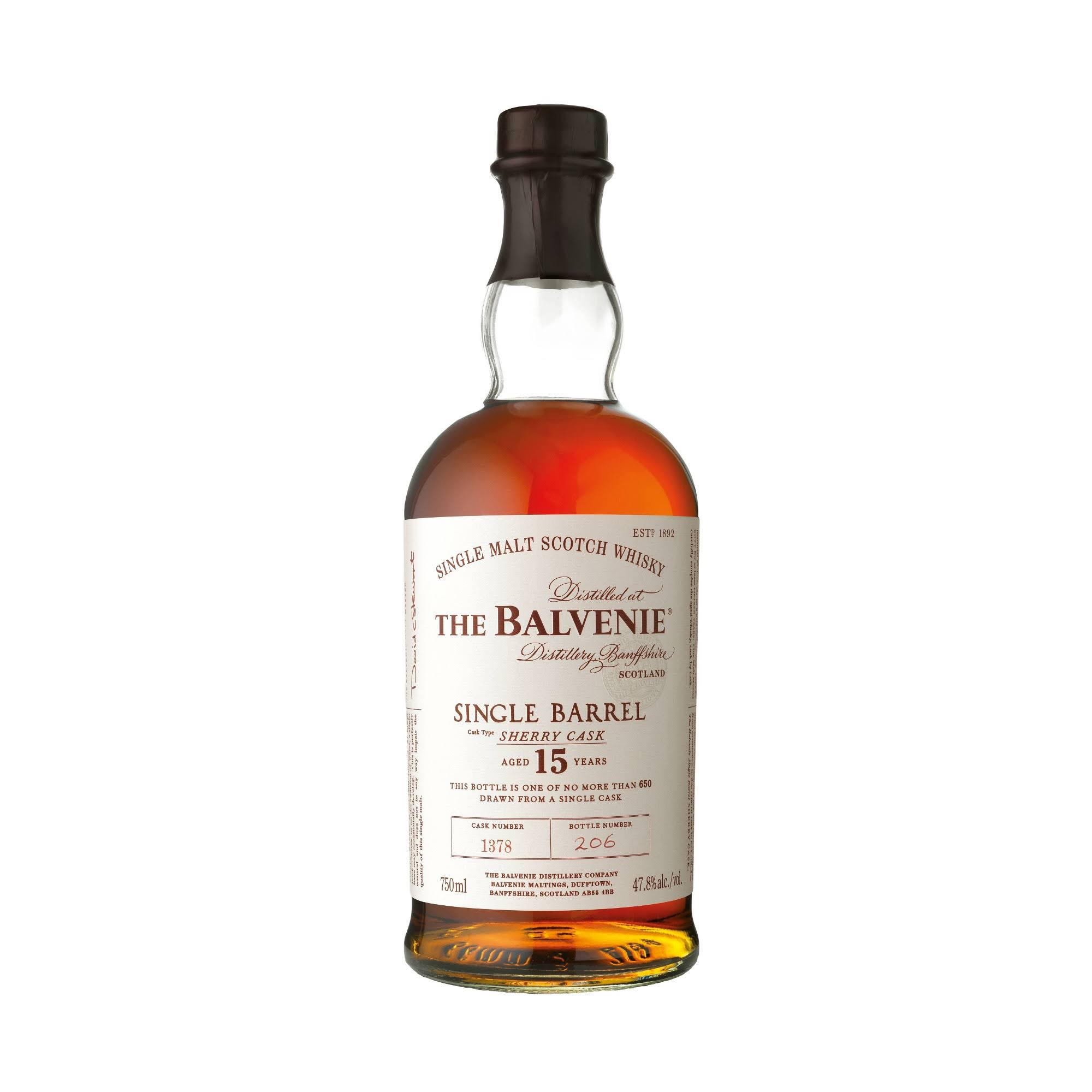 Balvenie 15 Year Old Sherry Cask Single Barrel Single Malt Scotch Whiskey - 750 ml bottle