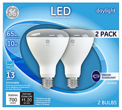 GE 41003 BR30 LED Floodlight Bulb, Daylight, 10 Watts, 700 Lumens