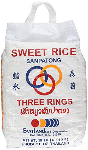Three Rings (10 lbs) Thai Sticky Rice (Sweet Rice)
