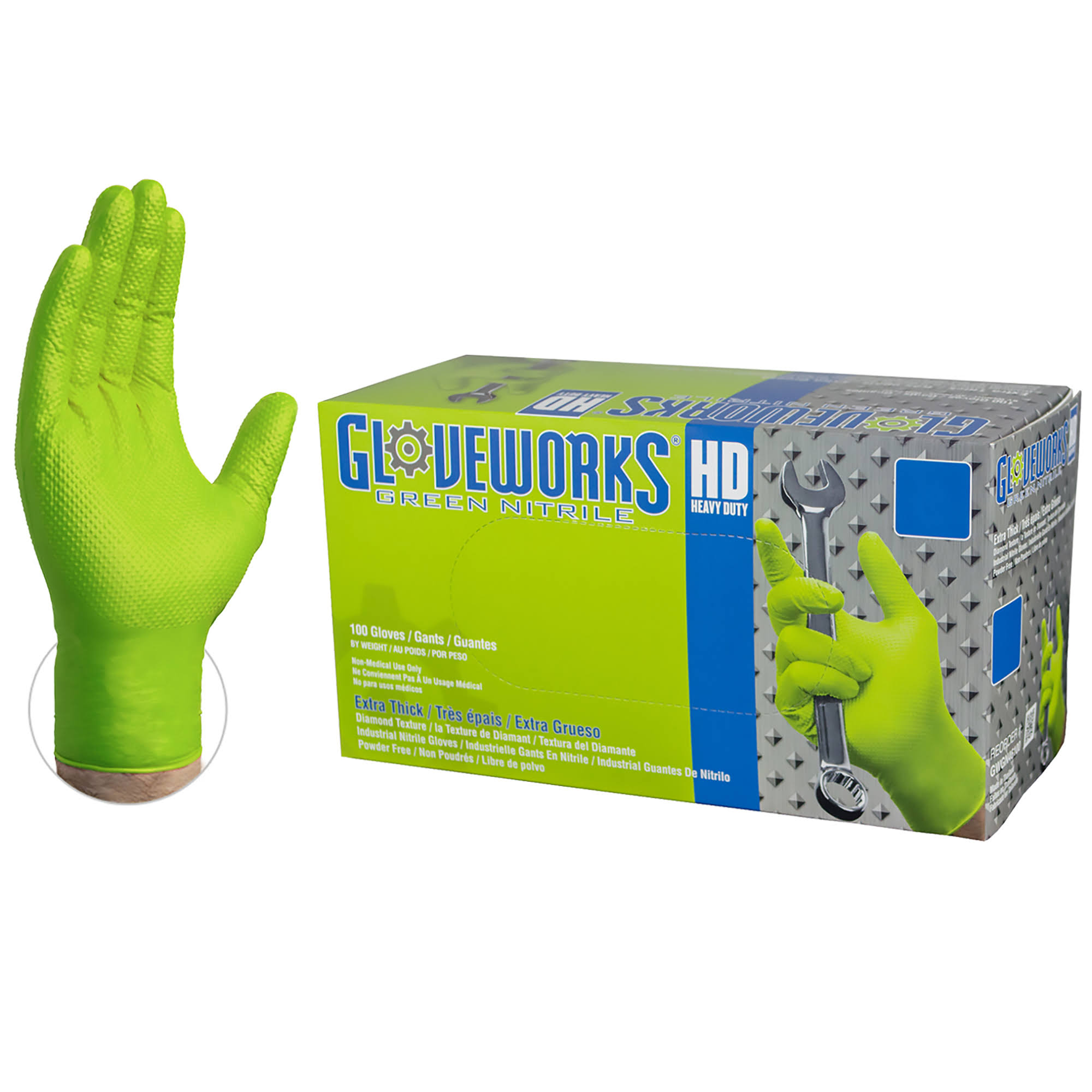 Ammex Gloveworks Heavy Duty Nitrile Gloves - Green, X-Large, Box of 100