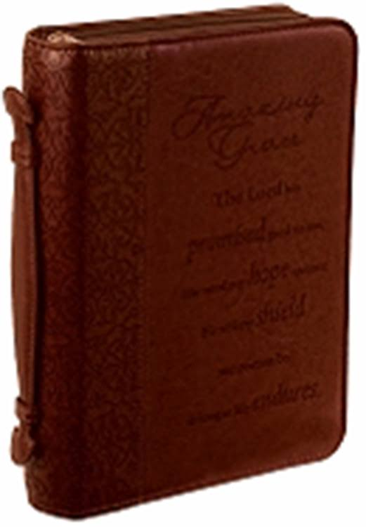 Amazing Grace Lux-leather Bible Cover - Brown, Large